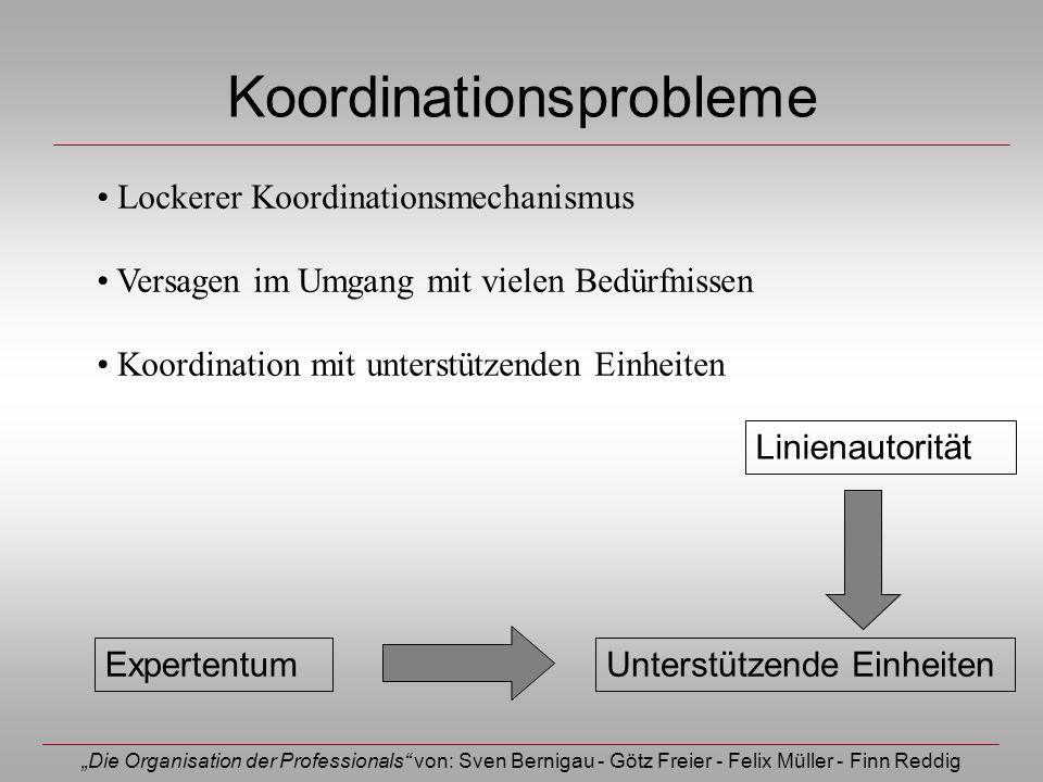 Die Organisation der Professionals von: Sven Bernigau - Götz Freier - Felix Müller - Finn Reddig Koordinationsprobleme Unterstützende Einheiten Linien