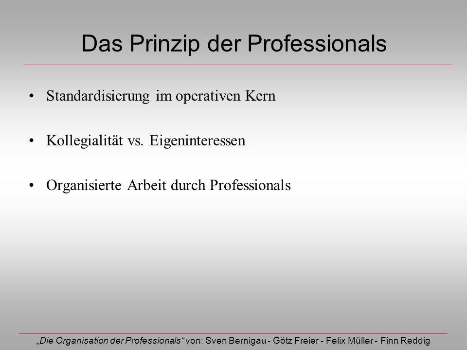 Die Organisation der Professionals von: Sven Bernigau - Götz Freier - Felix Müller - Finn Reddig Das Prinzip der Professionals Standardisierung im ope