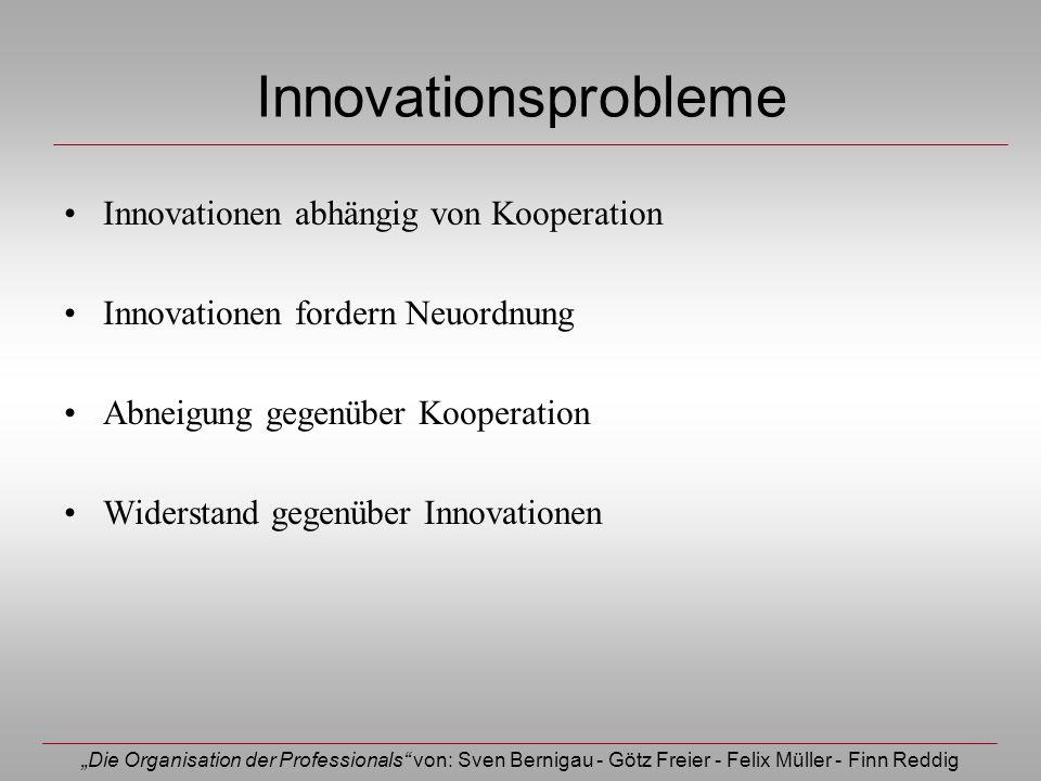 Die Organisation der Professionals von: Sven Bernigau - Götz Freier - Felix Müller - Finn Reddig Innovationsprobleme Innovationen abhängig von Koopera