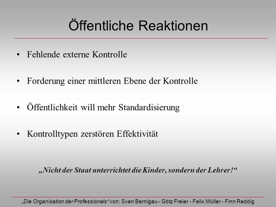Die Organisation der Professionals von: Sven Bernigau - Götz Freier - Felix Müller - Finn Reddig Öffentliche Reaktionen Fehlende externe Kontrolle For