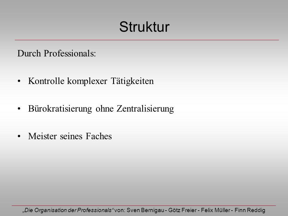 Die Organisation der Professionals von: Sven Bernigau - Götz Freier - Felix Müller - Finn Reddig Struktur Durch Professionals: Kontrolle komplexer Tät