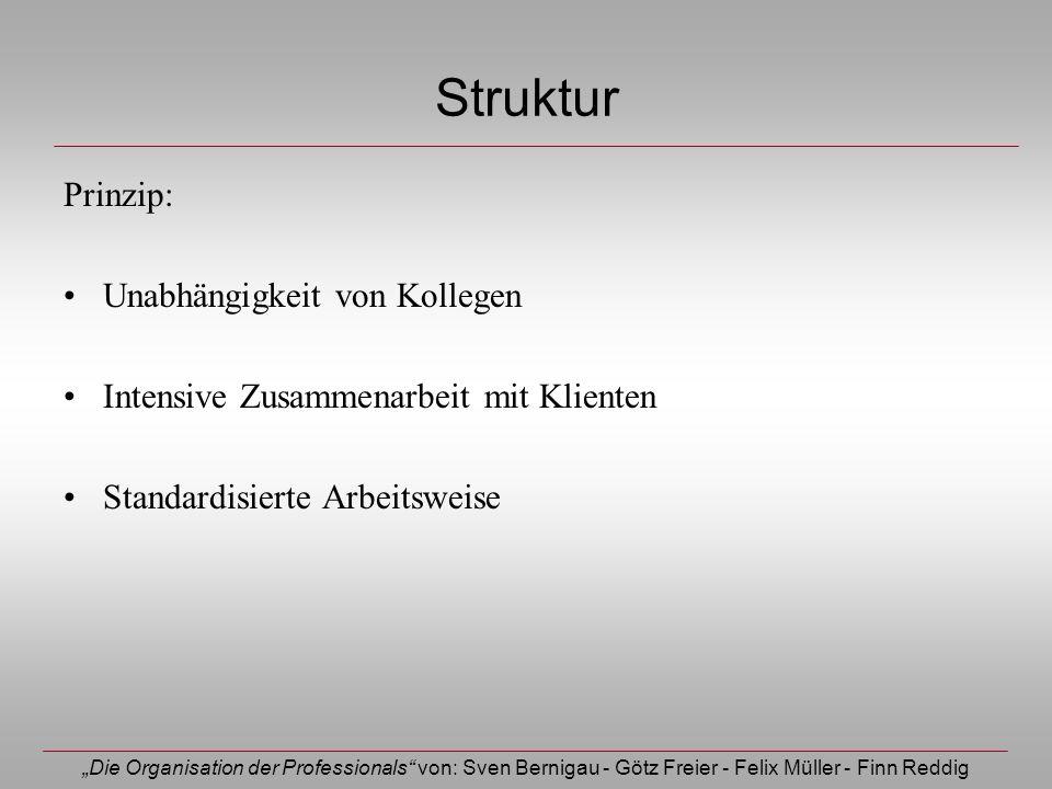 Die Organisation der Professionals von: Sven Bernigau - Götz Freier - Felix Müller - Finn Reddig Struktur Prinzip: Unabhängigkeit von Kollegen Intensi