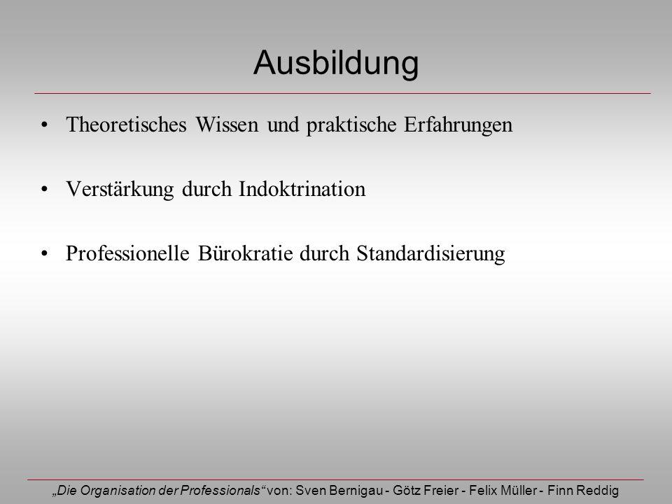 Die Organisation der Professionals von: Sven Bernigau - Götz Freier - Felix Müller - Finn Reddig Ausbildung Theoretisches Wissen und praktische Erfahr