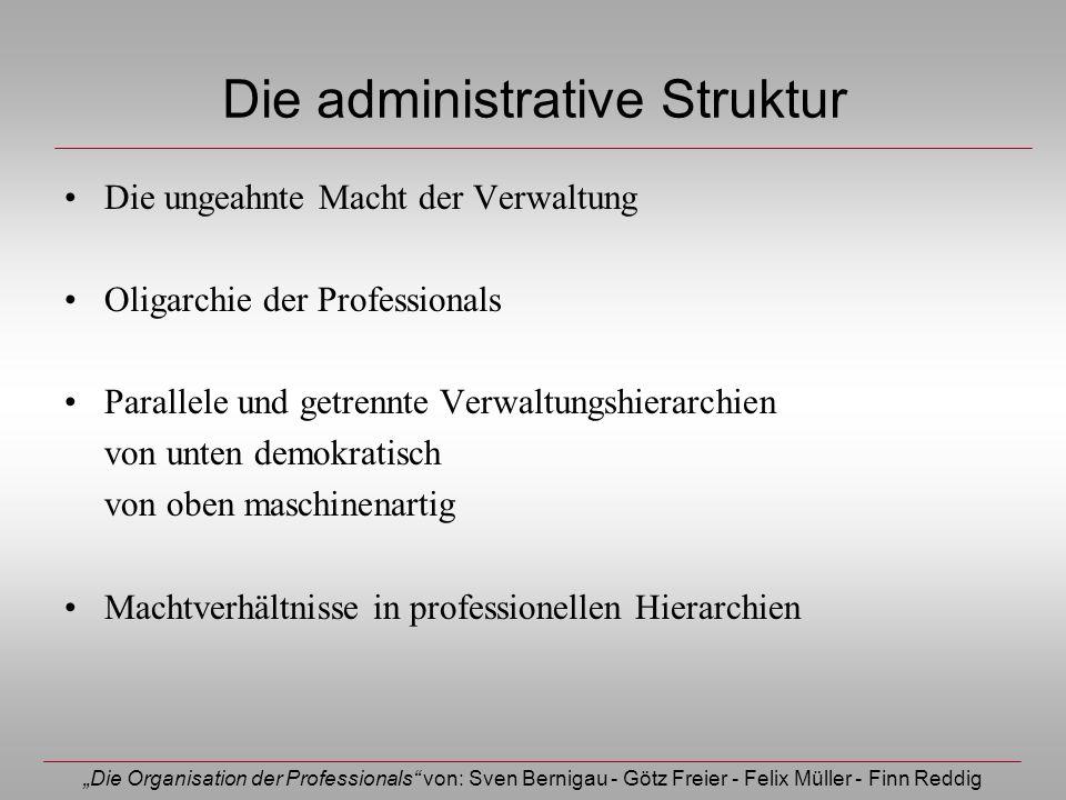 Die Organisation der Professionals von: Sven Bernigau - Götz Freier - Felix Müller - Finn Reddig Die administrative Struktur Die ungeahnte Macht der V