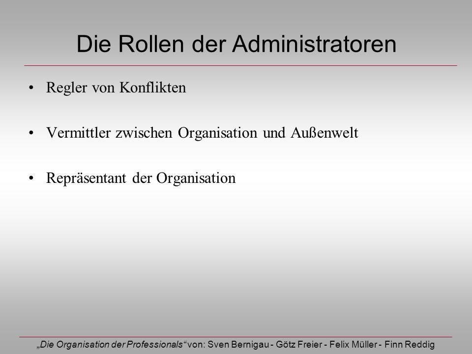 Die Organisation der Professionals von: Sven Bernigau - Götz Freier - Felix Müller - Finn Reddig Die Rollen der Administratoren Regler von Konflikten