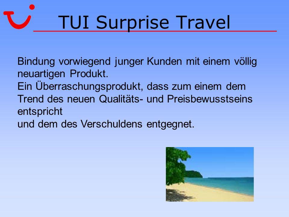 TUI Surprise Travel Bindung vorwiegend junger Kunden mit einem völlig neuartigen Produkt. Ein Überraschungsprodukt, dass zum einem dem Trend des neuen