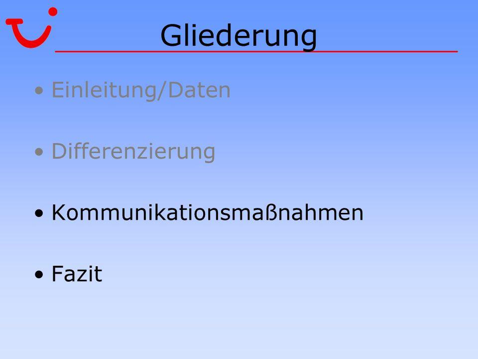 Gliederung Einleitung/Daten Differenzierung Kommunikationsmaßnahmen Fazit