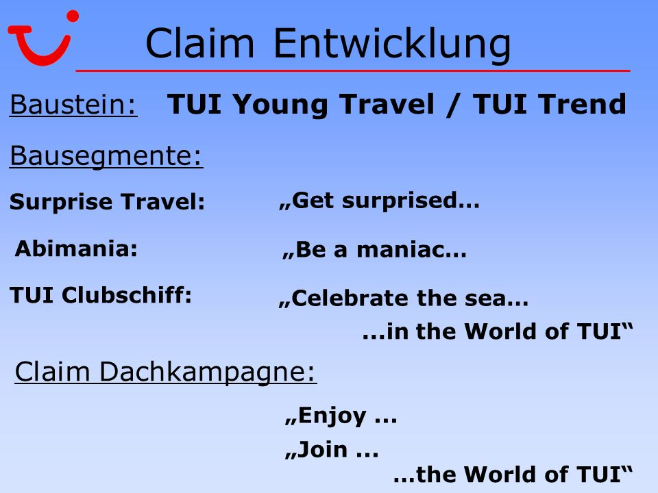 Claim Entwicklung Abimania:...in the World of TUI …the World of TUI Enjoy... Join... Bausegmente: Surprise Travel: Baustein: TUI Young Travel / TUI Tr