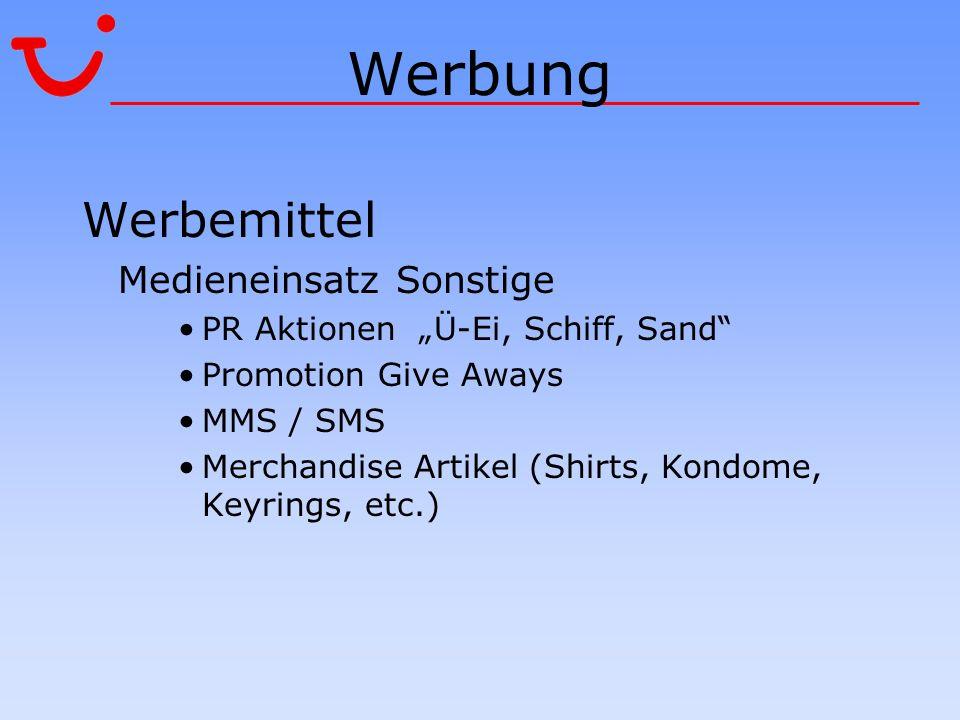 Werbung Werbemittel Medieneinsatz Sonstige PR Aktionen Ü-Ei, Schiff, Sand Promotion Give Aways MMS / SMS Merchandise Artikel (Shirts, Kondome, Keyring
