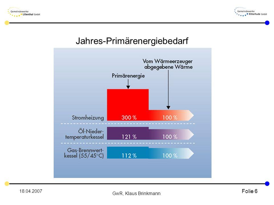 18.04.2007 GwR, Klaus Brinkmann Folie 6 Jahres-Primärenergiebedarf