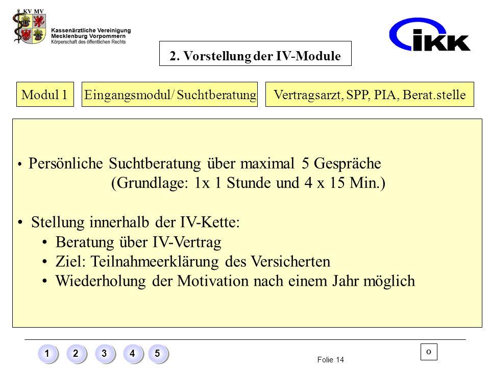 Folie 14 12345 Modul 1 Eingangsmodul/ Suchtberatung Persönliche Suchtberatung über maximal 5 Gespräche (Grundlage: 1x 1 Stunde und 4 x 15 Min.) Stellu