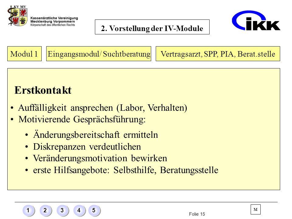 Folie 15 12345 Modul 1 Eingangsmodul/ Suchtberatung Erstkontakt Auffälligkeit ansprechen (Labor, Verhalten) Motivierende Gesprächsführung: Änderungsbe