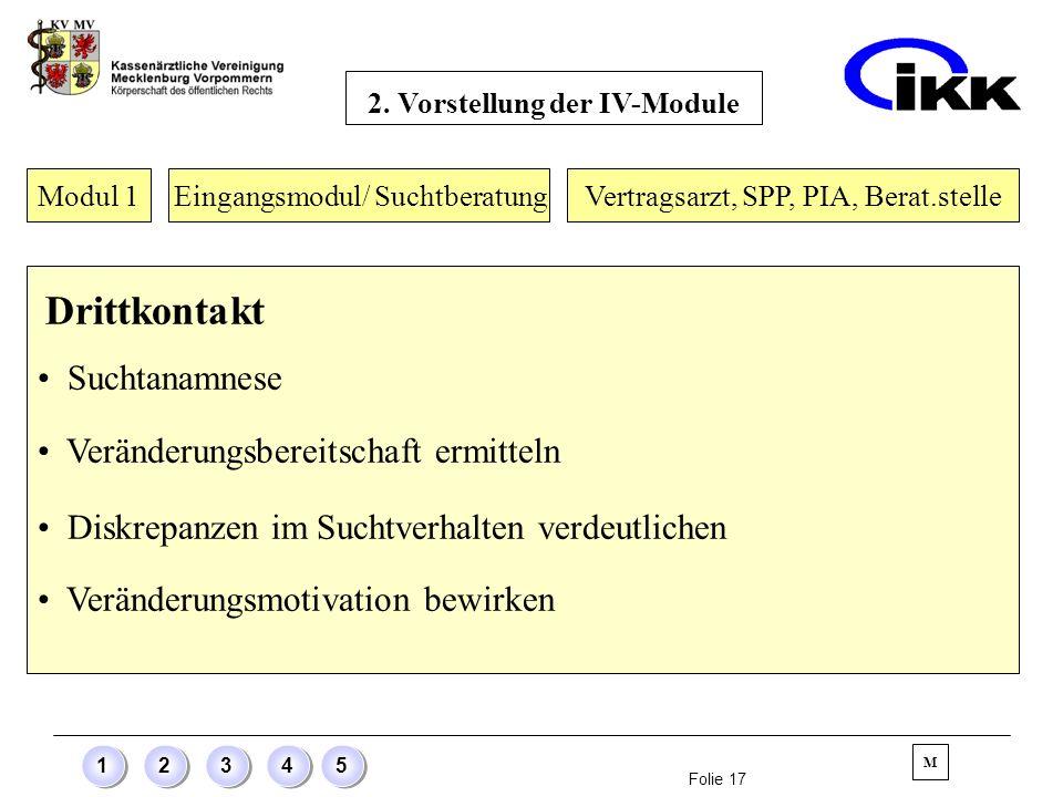 Folie 17 12345 Modul 1 Eingangsmodul/ Suchtberatung Drittkontakt Suchtanamnese Veränderungsbereitschaft ermitteln Diskrepanzen im Suchtverhalten verde
