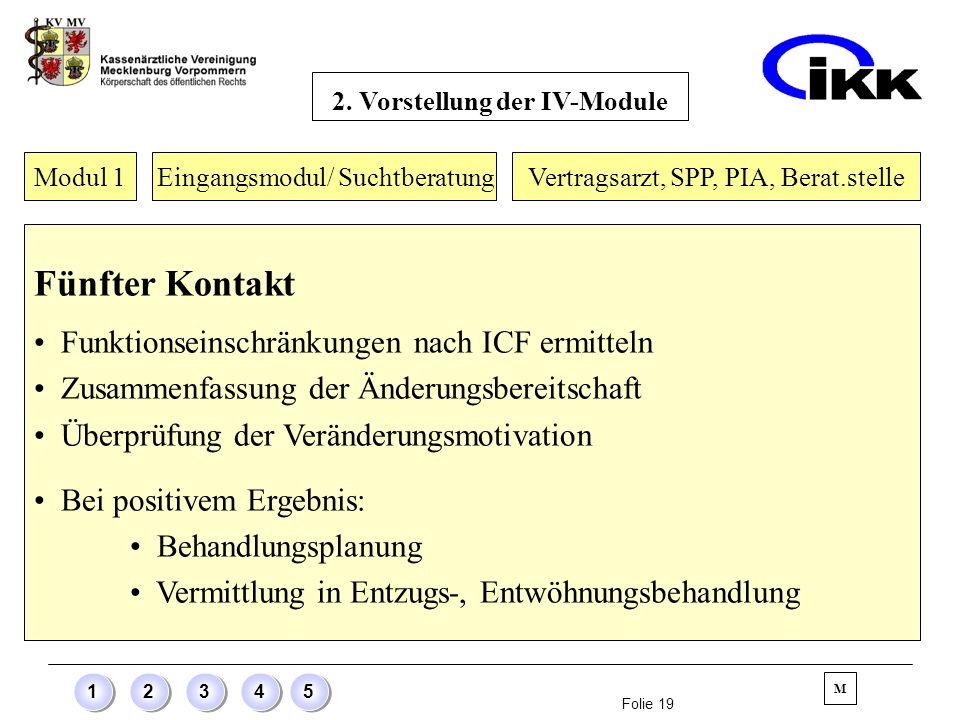 Folie 19 12345 Modul 1 Eingangsmodul/ Suchtberatung Fünfter Kontakt Funktionseinschränkungen nach ICF ermitteln Zusammenfassung der Änderungsbereitsch