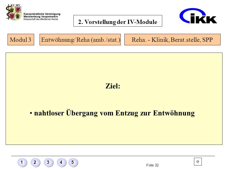 Folie 32 12345 Ziel: nahtloser Übergang vom Entzug zur Entwöhnung Modul 3 O Entwöhnung/ Reha (amb./stat.)Reha. - Klinik, Berat.stelle, SPP 2. Vorstell