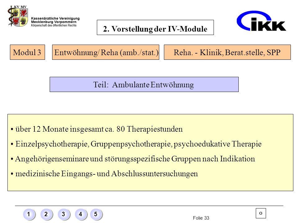 Folie 33 12345 über 12 Monate insgesamt ca. 80 Therapiestunden Einzelpsychotherapie, Gruppenpsychotherapie, psychoedukative Therapie Angehörigensemina