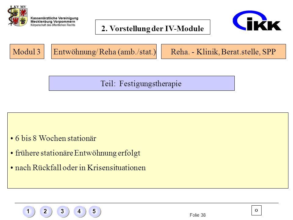 Folie 38 12345 6 bis 8 Wochen stationär frühere stationäre Entwöhnung erfolgt nach Rückfall oder in Krisensituationen Modul 3 O Entwöhnung/ Reha (amb.