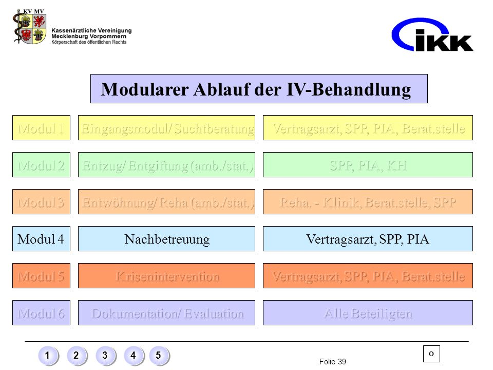 Folie 39 12345 Modularer Ablauf der IV-Behandlung Modul 4 NachbetreuungVertragsarzt, SPP, PIA O