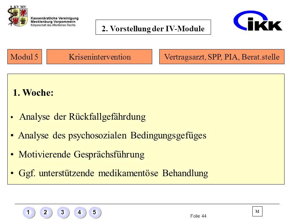 Folie 44 12345 1. Woche: Analyse der Rückfallgefährdung Analyse des psychosozialen Bedingungsgefüges Motivierende Gesprächsführung Ggf. unterstützende