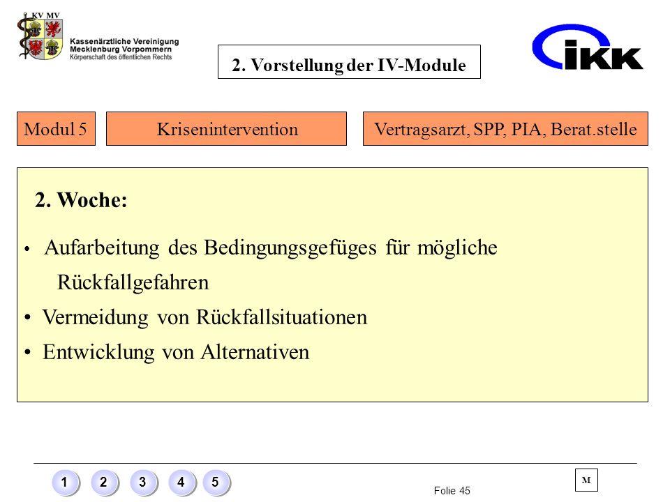 Folie 45 12345 2. Woche: Aufarbeitung des Bedingungsgefüges für mögliche Rückfallgefahren Vermeidung von Rückfallsituationen Entwicklung von Alternati