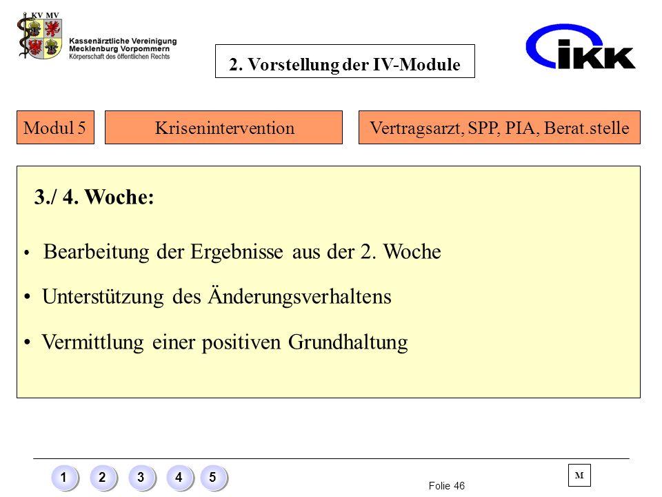 Folie 46 12345 3./ 4. Woche: Bearbeitung der Ergebnisse aus der 2. Woche Unterstützung des Änderungsverhaltens Vermittlung einer positiven Grundhaltun