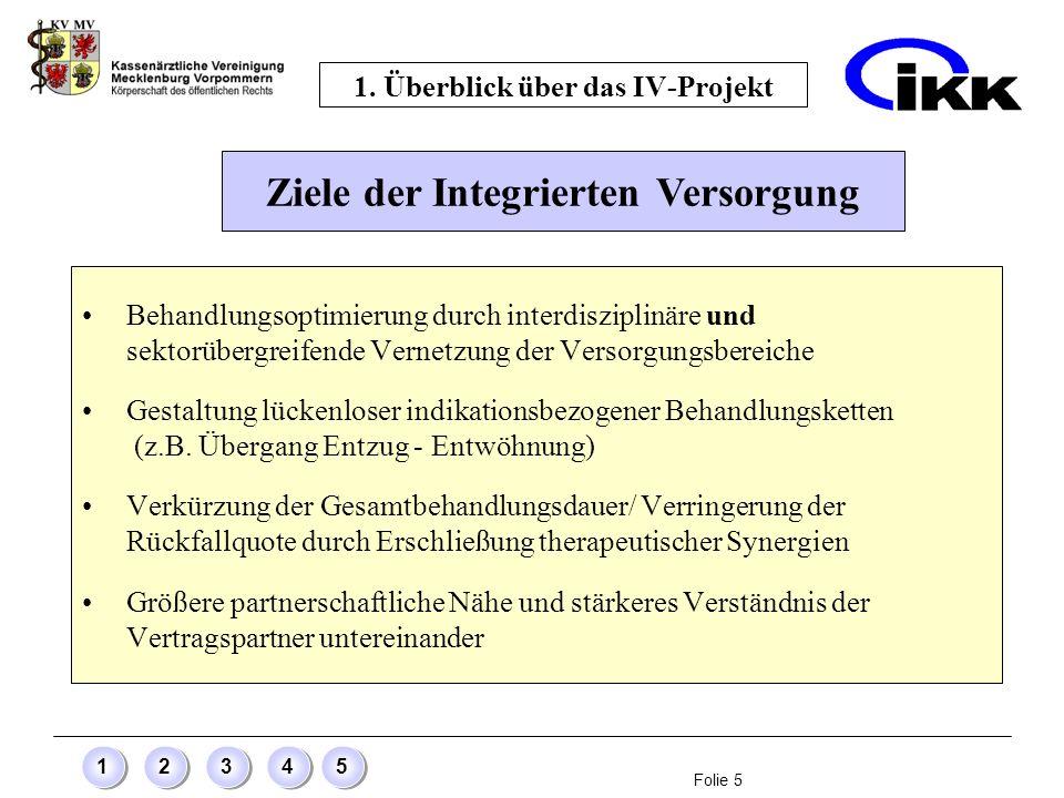 Folie 5 12345 1. Überblick über das IV-Projekt Behandlungsoptimierung durch interdisziplinäre und sektorübergreifende Vernetzung der Versorgungsbereic