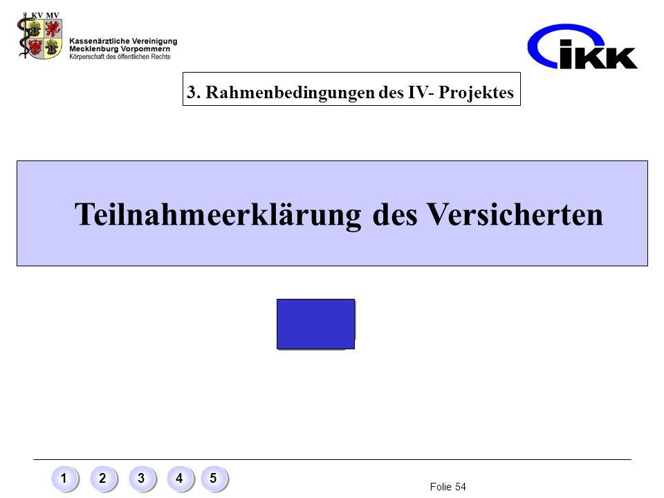 Folie 54 12345 Teilnahmeerklärung des Versicherten 3. Rahmenbedingungen des IV- Projektes