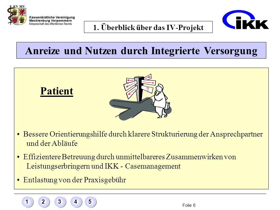 Folie 6 12345 Anreize und Nutzen durch Integrierte Versorgung 1. Überblick über das IV-Projekt Patient Bessere Orientierungshilfe durch klarere Strukt