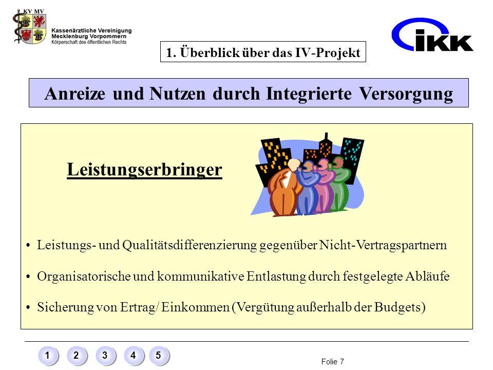 Folie 8 12345 Anreize und Nutzen durch Integrierte Versorgung 1.