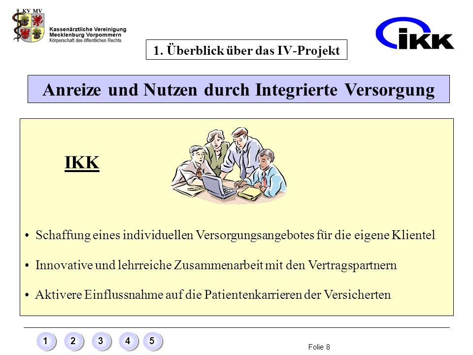 Folie 8 12345 Anreize und Nutzen durch Integrierte Versorgung 1. Überblick über das IV-Projekt IKK Schaffung eines individuellen Versorgungsangebotes