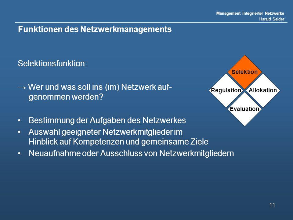 Management integrierter Netzwerke Harald Seider 11 Funktionen des Netzwerkmanagements Selektionsfunktion: Wer und was soll ins (im) Netzwerk auf- genommen werden.