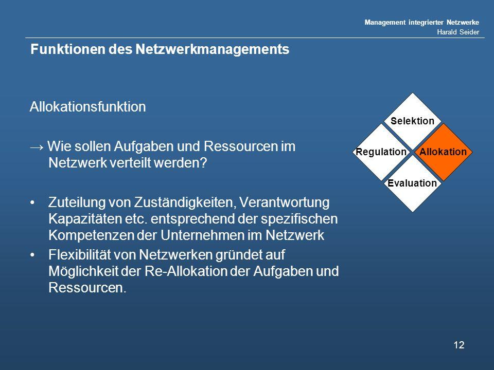 Management integrierter Netzwerke Harald Seider 12 Funktionen des Netzwerkmanagements Allokationsfunktion Wie sollen Aufgaben und Ressourcen im Netzwerk verteilt werden.