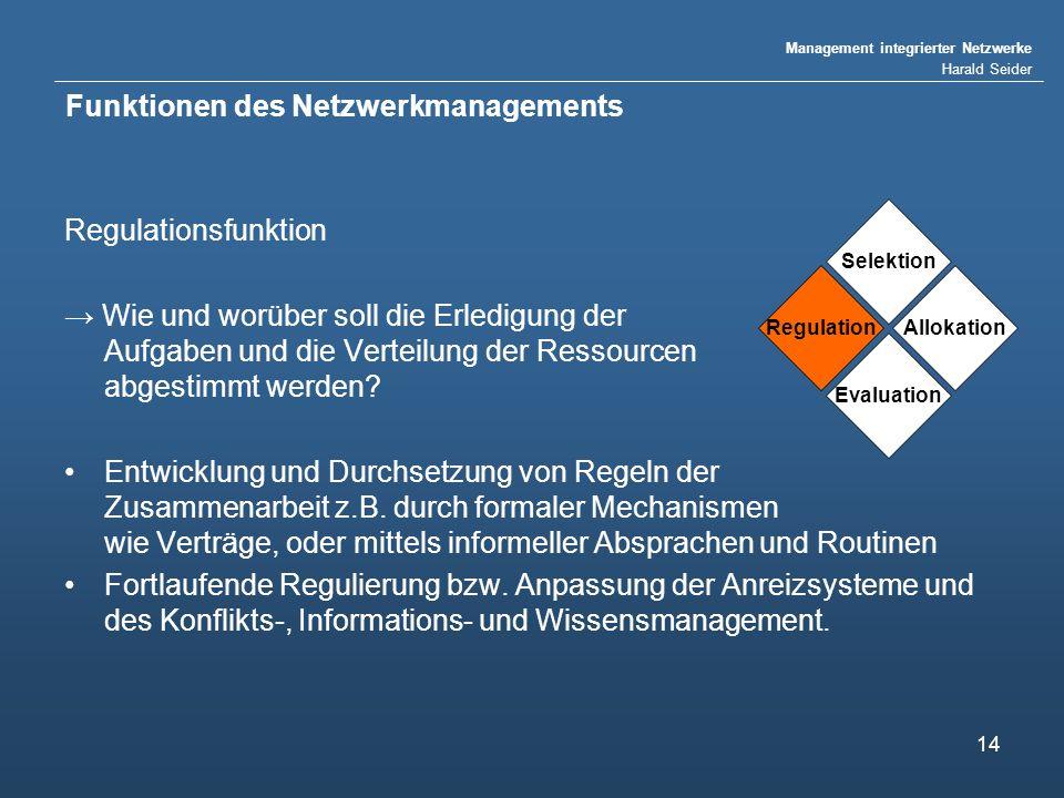 Management integrierter Netzwerke Harald Seider 14 Funktionen des Netzwerkmanagements Regulationsfunktion Wie und worüber soll die Erledigung der Aufg