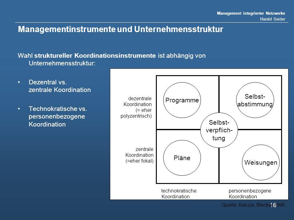 Management integrierter Netzwerke Harald Seider 16 Managementinstrumente und Unternehmensstruktur Wahl struktureller Koordinationsinstrumente ist abhängig von Unternehmensstruktur: Dezentral vs.