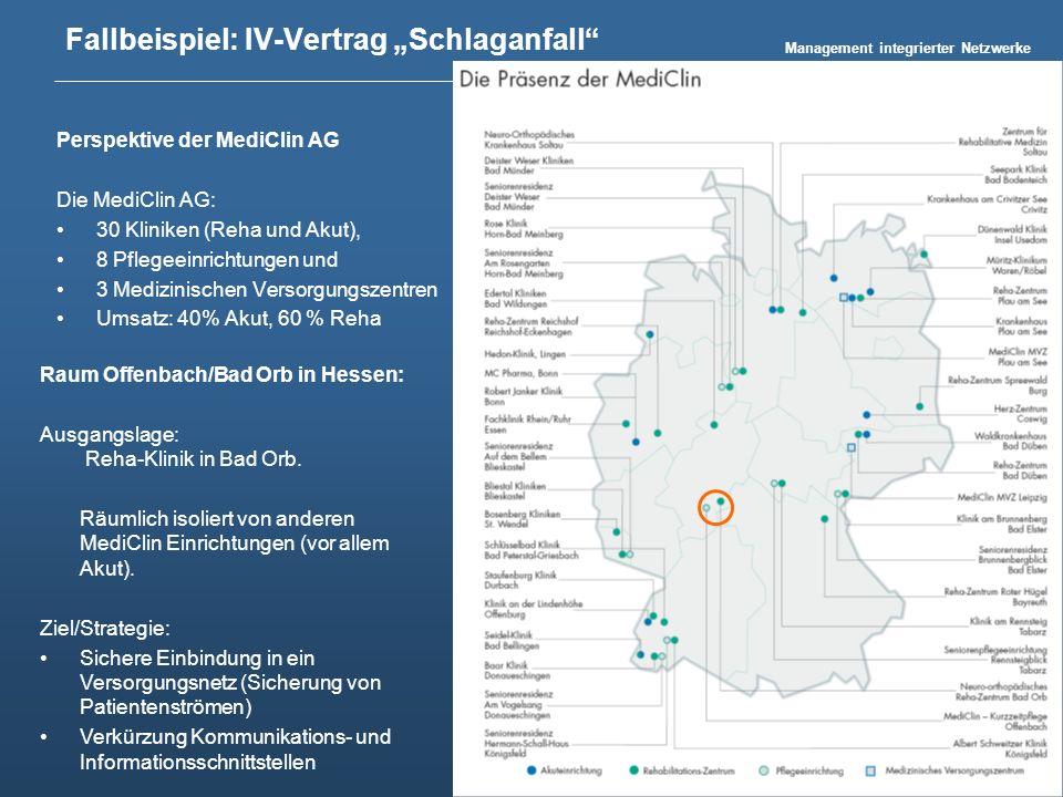 Management integrierter Netzwerke Harald Seider 23 Fallbeispiel: IV-Vertrag Schlaganfall Perspektive der MediClin AG Die MediClin AG: 30 Kliniken (Reh