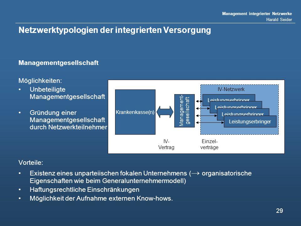 Management integrierter Netzwerke Harald Seider 29 Netzwerktypologien der integrierten Versorgung Managementgesellschaft Möglichkeiten: Unbeteiligte M