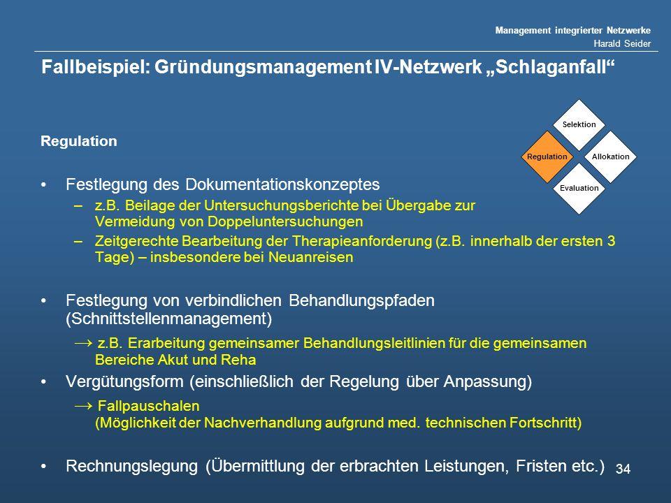 Management integrierter Netzwerke Harald Seider 34 Fallbeispiel: Gründungsmanagement IV-Netzwerk Schlaganfall Regulation Festlegung des Dokumentations