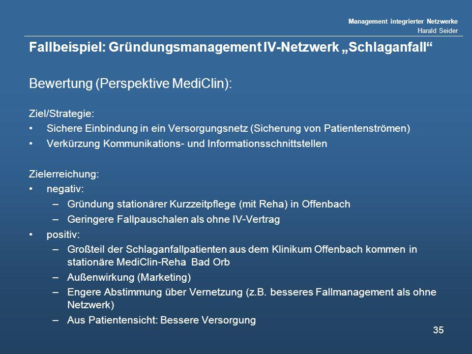 Management integrierter Netzwerke Harald Seider 35 Fallbeispiel: Gründungsmanagement IV-Netzwerk Schlaganfall Bewertung (Perspektive MediClin): Ziel/S