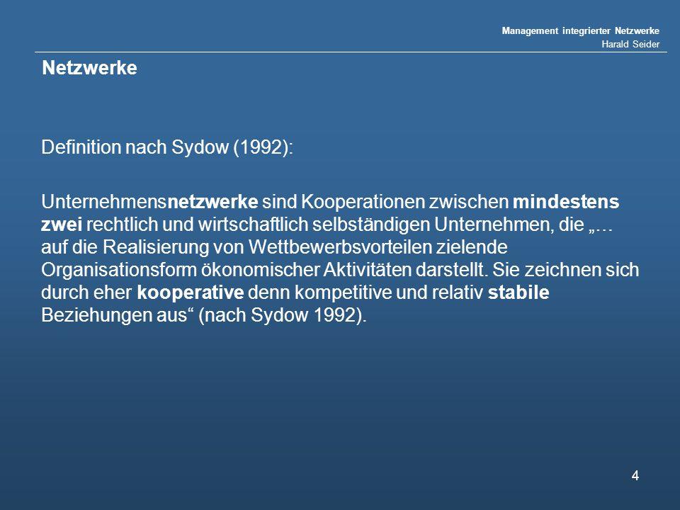 Management integrierter Netzwerke Harald Seider 4 Netzwerke Definition nach Sydow (1992): Unternehmensnetzwerke sind Kooperationen zwischen mindestens zwei rechtlich und wirtschaftlich selbständigen Unternehmen, die … auf die Realisierung von Wettbewerbsvorteilen zielende Organisationsform ökonomischer Aktivitäten darstellt.