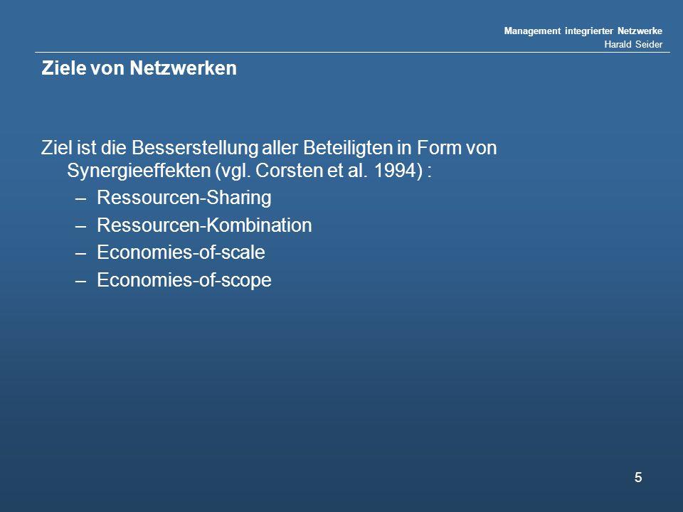 Management integrierter Netzwerke Harald Seider 5 Ziele von Netzwerken Ziel ist die Besserstellung aller Beteiligten in Form von Synergieeffekten (vgl