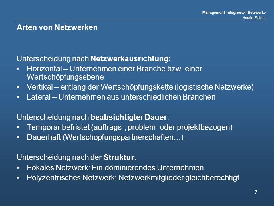 Management integrierter Netzwerke Harald Seider 7 Arten von Netzwerken Unterscheidung nach Netzwerkausrichtung: Horizontal – Unternehmen einer Branche