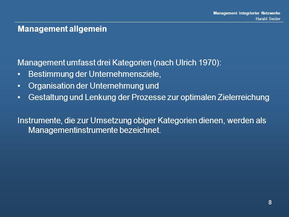 Management integrierter Netzwerke Harald Seider 8 Management allgemein Management umfasst drei Kategorien (nach Ulrich 1970): Bestimmung der Unternehmensziele, Organisation der Unternehmung und Gestaltung und Lenkung der Prozesse zur optimalen Zielerreichung Instrumente, die zur Umsetzung obiger Kategorien dienen, werden als Managementinstrumente bezeichnet.