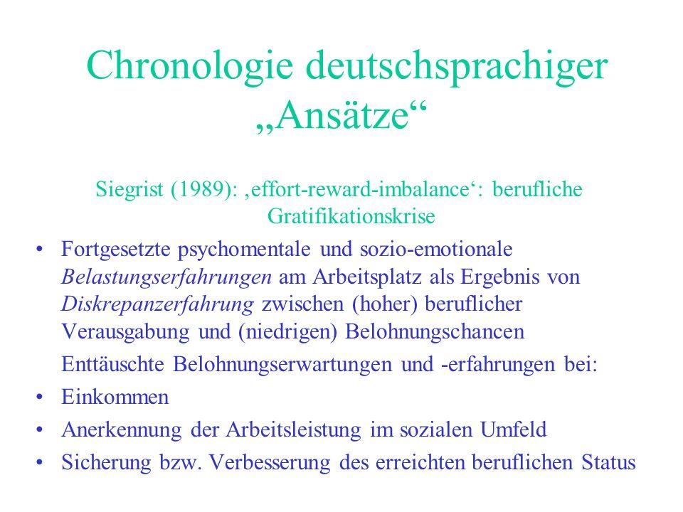 Chronologie deutschsprachiger Ansätze Siegrist (1989): effort-reward-imbalance: berufliche Gratifikationskrise Fortgesetzte psychomentale und sozio-em
