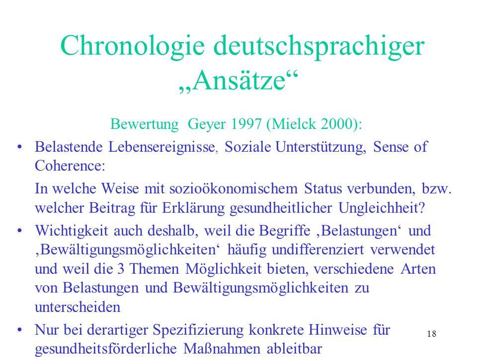 18 Chronologie deutschsprachiger Ansätze Bewertung Geyer 1997 (Mielck 2000): Belastende Lebensereignisse, Soziale Unterstützung, Sense of Coherence: I