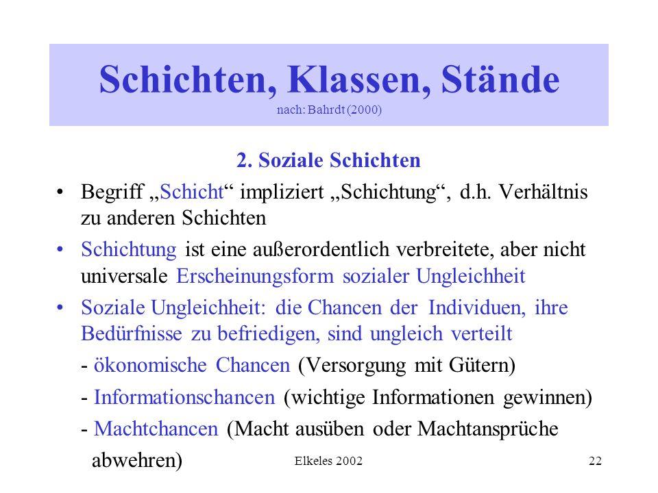 Elkeles 200222 2. Soziale Schichten Begriff Schicht impliziert Schichtung, d.h. Verhältnis zu anderen Schichten Schichtung ist eine außerordentlich ve