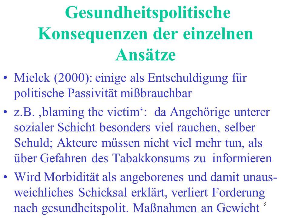 3 Gesundheitspolitische Konsequenzen der einzelnen Ansätze Mielck (2000): einige als Entschuldigung für politische Passivität mißbrauchbar z.B. blamin