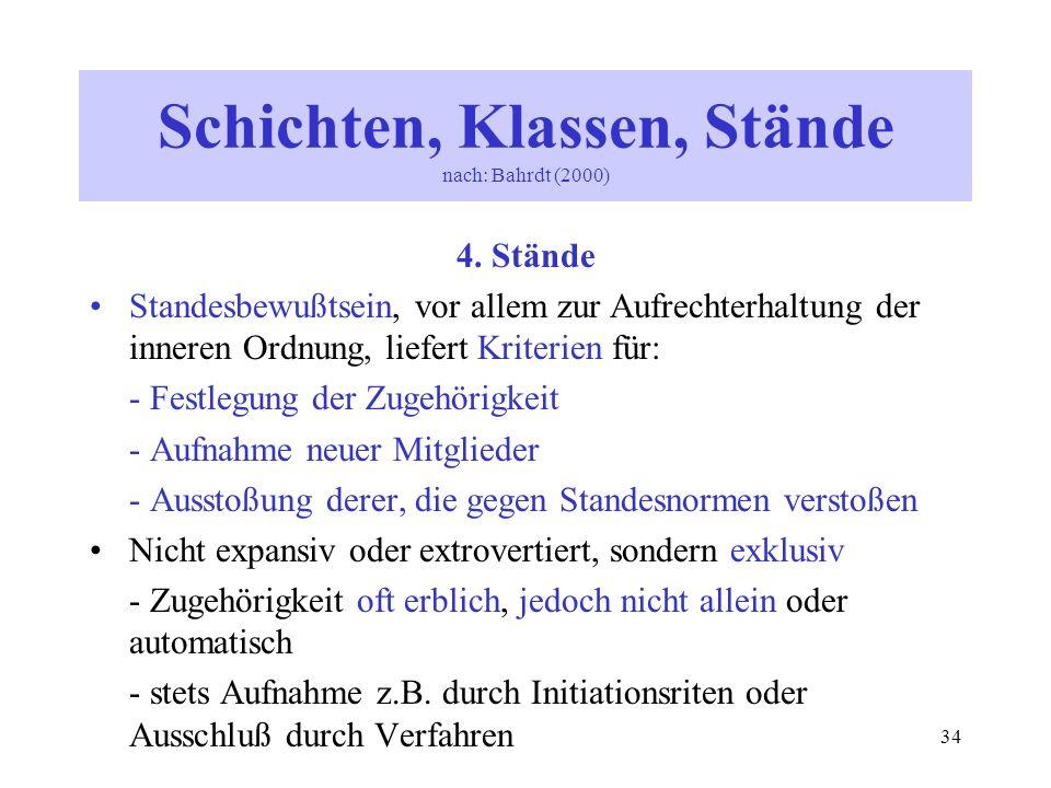 34 4. Stände Standesbewußtsein, vor allem zur Aufrechterhaltung der inneren Ordnung, liefert Kriterien für: - Festlegung der Zugehörigkeit - Aufnahme
