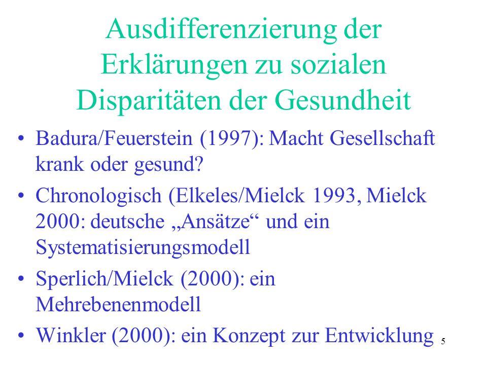5 Ausdifferenzierung der Erklärungen zu sozialen Disparitäten der Gesundheit Badura/Feuerstein (1997): Macht Gesellschaft krank oder gesund? Chronolog