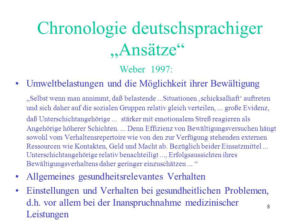 8 Chronologie deutschsprachiger Ansätze Weber 1997: Umweltbelastungen und die Möglichkeit ihrer Bewältigung Selbst wenn man annimmt, daß belastende...