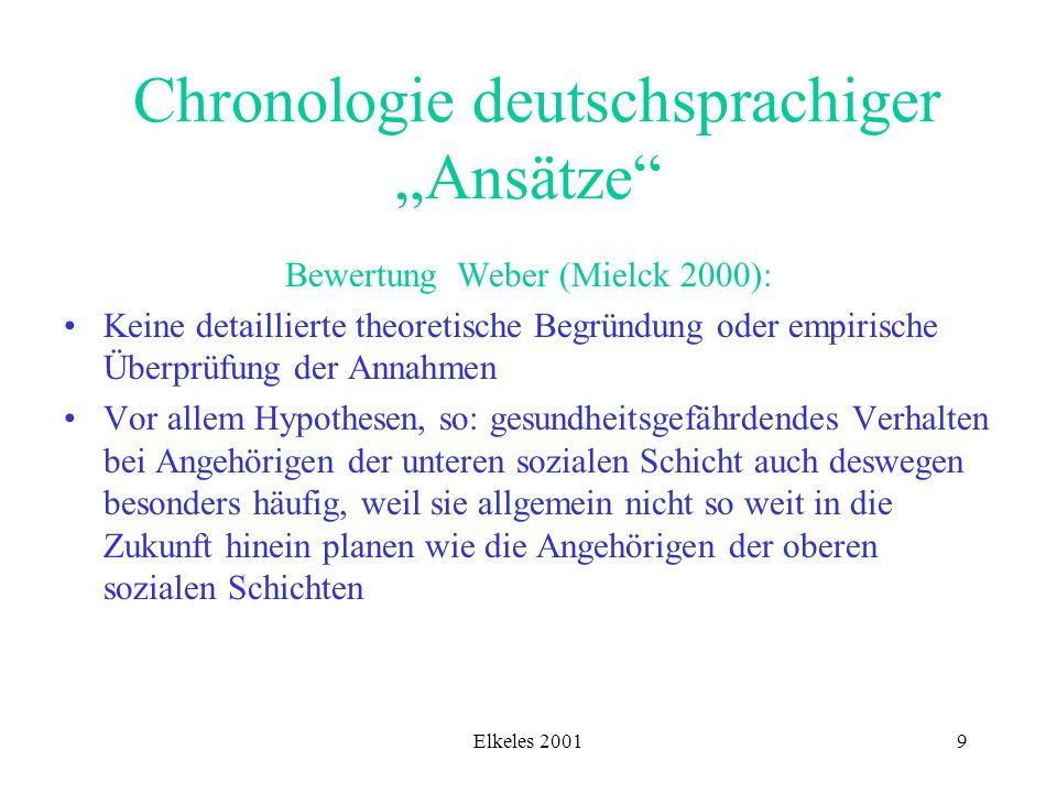 Elkeles 20019 Chronologie deutschsprachiger Ansätze Bewertung Weber (Mielck 2000): Keine detaillierte theoretische Begründung oder empirische Überprüf